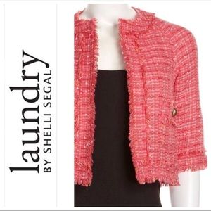 LAUNDRY PINK TWEED STYLE OPEN FRONT JACKET